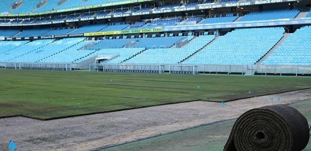 grêmio arena avalia troca de gramado com menos de seis meses de uso