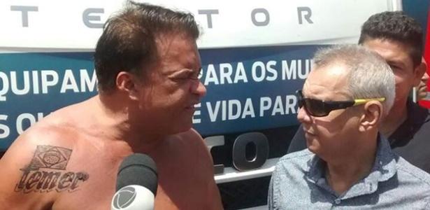 Deputado federal Wladimir Costa (SD-PA) aparece sem camisa em cerimônia e expõe tatuagem com o nome de Temer