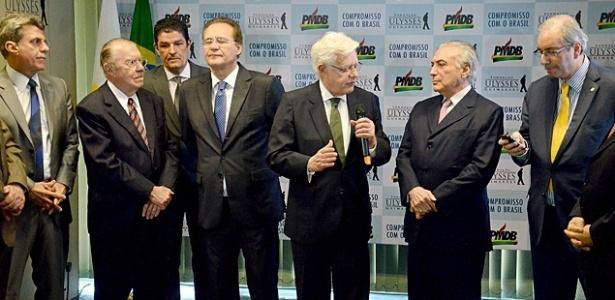 Cúpula do PMDB: Jucá, Sarney, Renan, Moreira Franco, Temer e Cunha, em foto de 2015