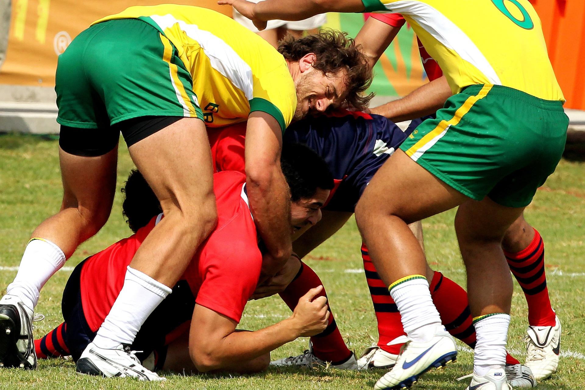 A seleção brasileira de rúgbi acabou derrotada pelo Chile no Pan de Guadalajara (30/10/2011)