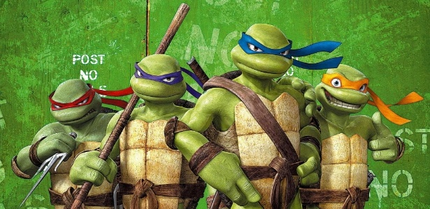 """Raphael, Donatello, Leonardo e Michelangelo durante cena do filme """"Tartarugas Ninja - O Retorno"""", dirigido por Kevin Munroe"""