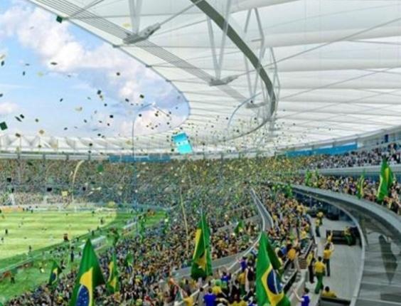 Ilustração do interior do Maracanã após reformas para a Copa