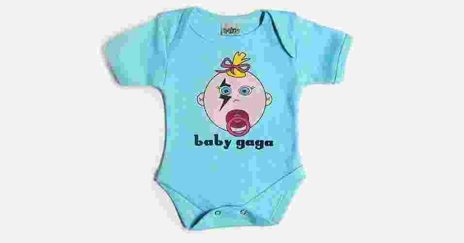 Body Baby Gaga, unissex e confeccionado em algodão. Disponível nos tamanhos P, M, G e GG. Preço: R$ 69 (www.qvizu.com.br) - Divulgação