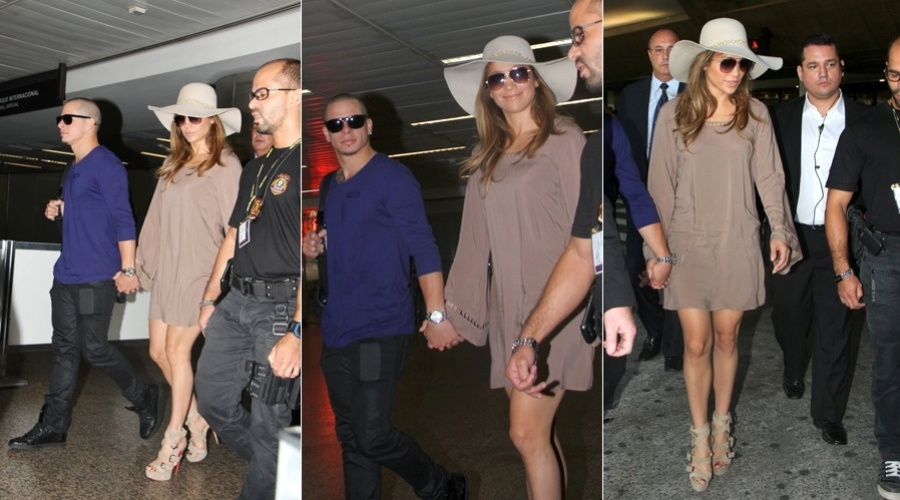 Jennifer Lopez desembarca no aeroporto de Guarulho, em São Paulo (25/3/2012)