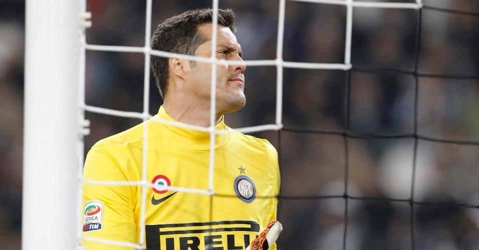 O goleiro da Inter, Julio Cesar, durante partida contra a Juventus, em Turim