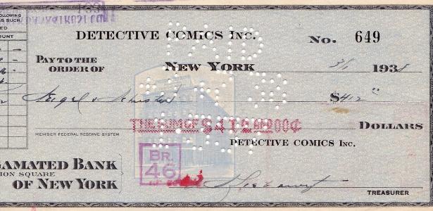 """Na imagem cheque enviado para os criadores de """"Superman"""", Jerry Siegel e Joe Schuster, em 1938. Este primeiro cheque viabilizou o caminho para livros, rádio, televisão e filmes sobre o personagem  - AP Photo/ComicConnect.com"""