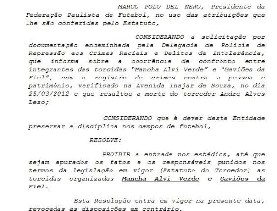 Resolução da FPF que proíbe a entrada de Gaviões e Mancha nos estádios