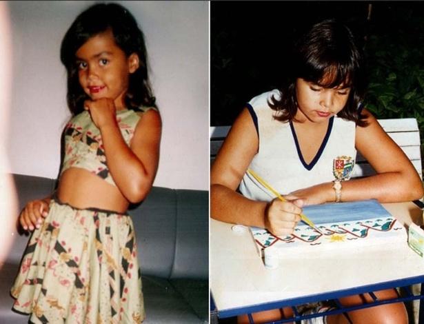 """Em foto divulgada pelo site oficial do """"BBB12"""", Analice aparece fazendo pose e estudando quando era criança"""