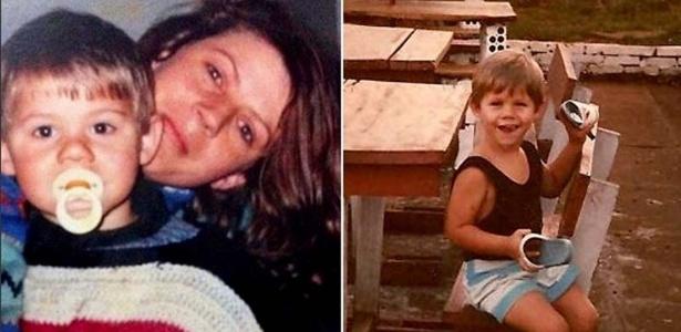 Em fotos da infância publicadas no site oficial do