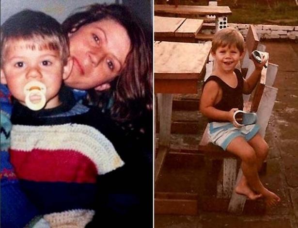 """Em fotos da infância publicadas no site oficial do """"BBB12"""", Jonas aparece chupando chupeta e brincando"""