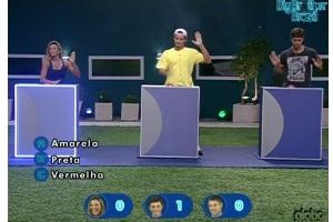 O painel de Fabiana se acendeu quando ela bateu a mão na mesa, mas não ficou claro se a candidata acertou o botão vermelho
