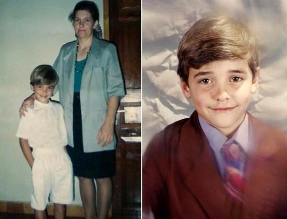 Fael ao lado da mãe e sozinho em fotos de sua infância divulgadas pelo site oficial do