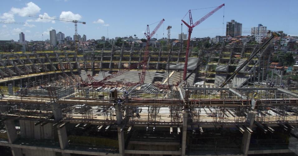 Imagem panorâmica da futura Arena Fonte Nova, que servirá de sede para a Copa e depois será usada pelo Bahia
