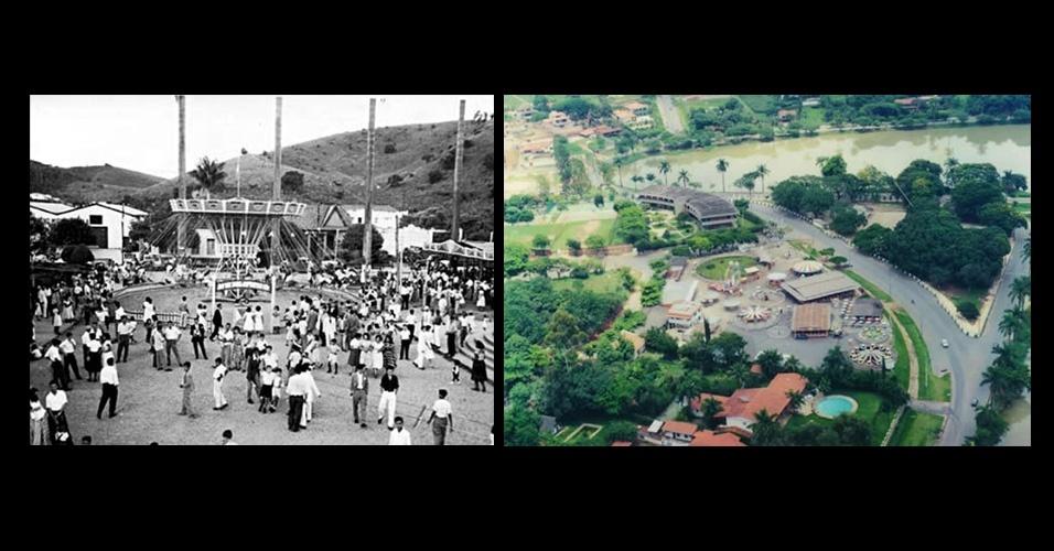 Fotos do Parque Guanabara em Belo Horizonte (MG). À esquerda em 1951 e à direita em 1995