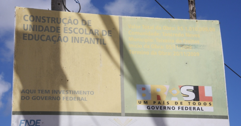 Creche em Teixeira de Freitas (BA), a 810 quilômetros ao sul de Salvador, está construída há mais de dois anos, mas segue fechada e sem data de abertura