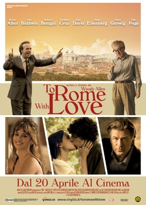 "Pôster italiano do novo filme de Woody Allen, ""To Rome With Love"""