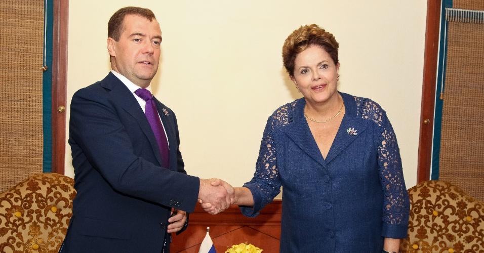 Presidente Dilma Rousseff se encontra com o presidente da Federação Russa, Dmitri Medvedev, na Índia