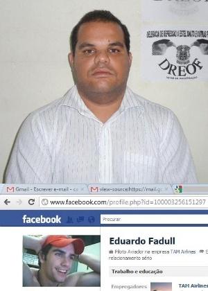 Corretor de imóveis Lucas Freitas (alto) se passa por Eduardo Fadul (foto falsa) para seduzir e chantagear mulheres na rede - Divulgação/Polícia Civil da Bahia
