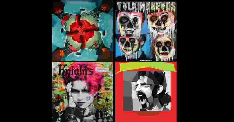 Uma exposição na Califórnia, patrocinada pela gravadora Warnes Bros, reúne reinterpretações de capas de discos clássicos lançados nos últimos 50 anos feitas por diversos artistas - Montagem UOL / Reprodução/www.juxtapoz.com