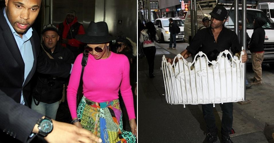 Beyoncé é flagrada deixando seu escritório em Nova York. Na foto ao lado, um funcionário o moisés da filha da cantora, Blue Ivy Carter (31/3/12)