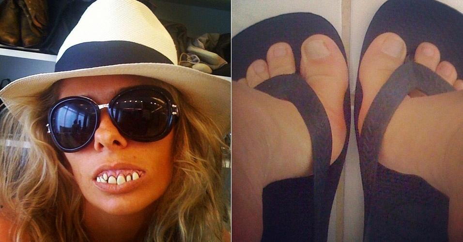 """Adriane Galisteu publica foto no Twitter com dentadura.""""Pra quem não gostou dos meus pés... Segue o meu sorriso.Está aí os pés da apresentadora"""", escreveu a apresentadora do """"Muito Mais Galisteu"""" no microblog (1/4/12)"""
