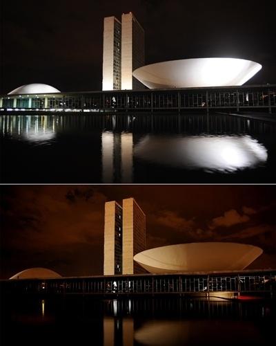 """Congresso Nacional em Brasília com as luzes apagadas durante """"Hora do Planeta"""""""