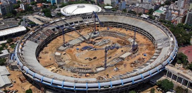 Estado das obras no Maracanã em março de 2012; reforma da arena é uma das obras mais caras da Copa