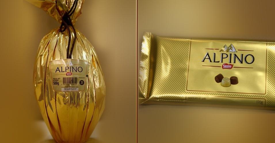 Ovo de Páscoa e barra de chocolate Alpino