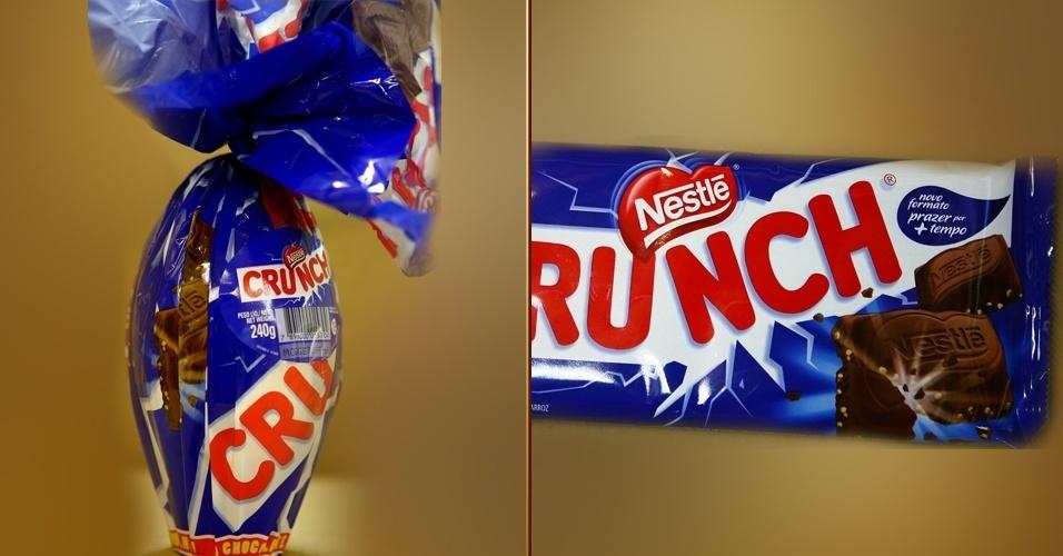 Ovo de Páscoa e barra de chocolate Crunch