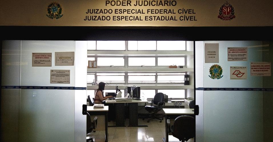 Vista da sala de pré-atendimento do Juizado Especial Federal Cível do Aeroporto de Congonhas, em São Paulo (SP)