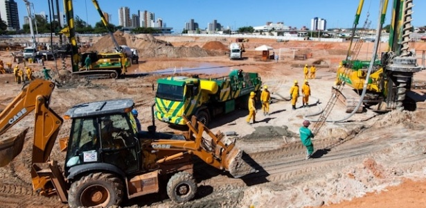 As obras de construção da Arena das Dunas, em Natal (RN), superaram 20% de execução