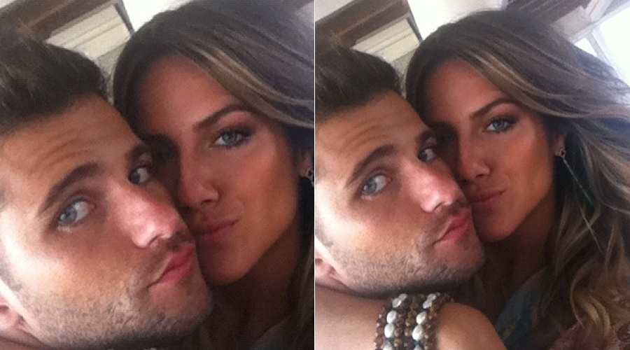 Bruno Gagliasso e Giovanna Ewbank posam abraçados em bastidor de ensaio fotográfico (3/4/2012)