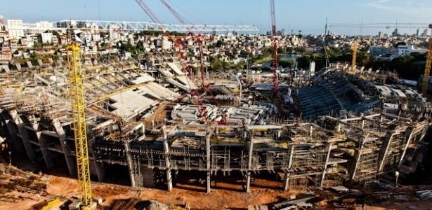 Candidata a receber partidas da Copa das Confederações, em 2013, a Arena Fonte Nova está com as obras 55% concluídas