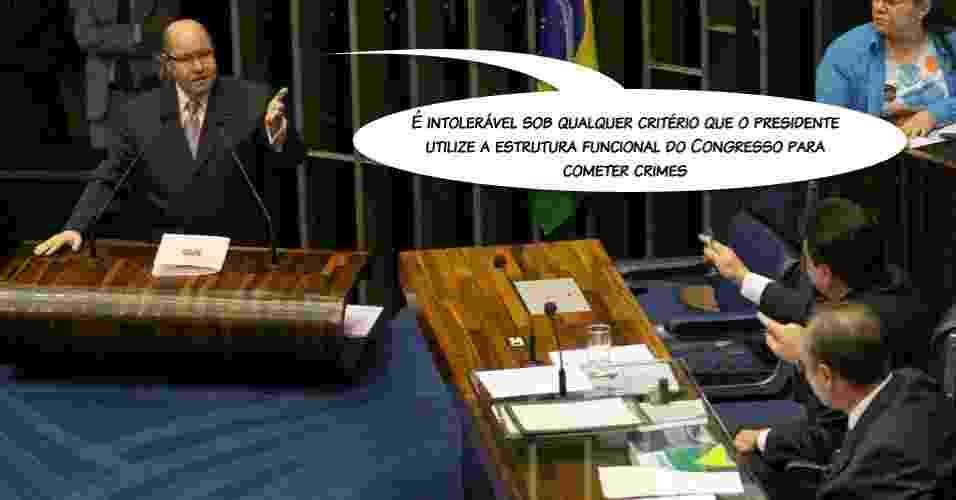 """""""É intolerável sob qualquer critério que o presidente utilize a estrutura funcional do Congresso para cometer crimes"""",  afirmou o senador Demóstenes Torres em mais um episódio contra o colega Renan Calheiros, em 2007 - 09.out.2007 - Lula Marques/Folhapress"""