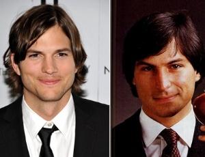 """O ator Ashton Kutcher ao lado de Steve Jobs. Kutcher foi escolhido para interpretar o cofundador da Apple no filme """"Jobs"""""""