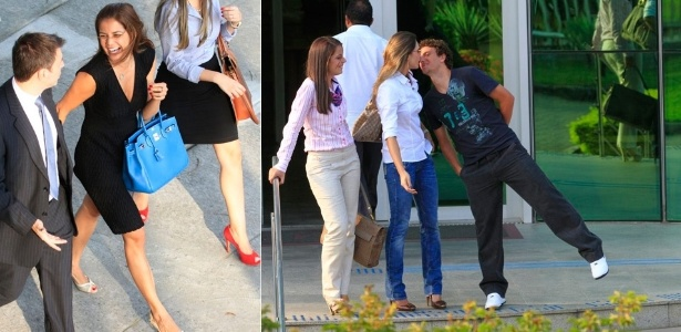 Nívea Stelmann sai sorridente de fórum, e Elano beija a mulher após audiência no Rio (3/4/12)