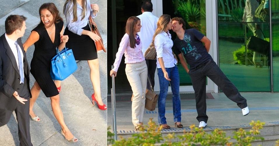 Nívea Stelmann sai sorridente do Fórum da Barra da Tijuca e Elano beija a mulher após audiência de conciliação no Rio de Janeiro (3/4/12)