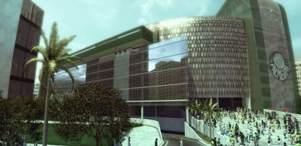 Nova fachada da Arena do Palmeiras, com vidros espelhados, estará no vídeo