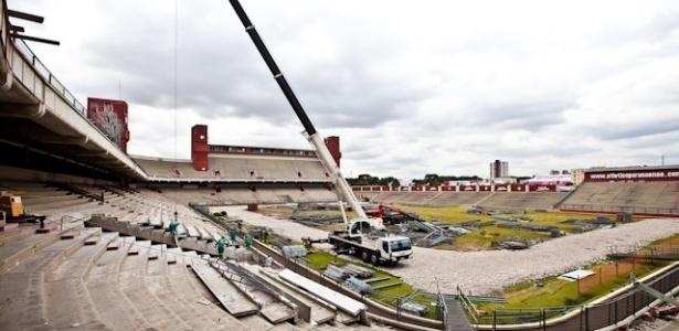 O estádio do Atlético-PR tem 52% das obras de adaptação para receber quatro partidas da Copa do Mundo executadas