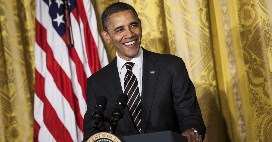 O presidente dos Estados Unidos, Barack Obama, discursa na Casa Branca, em Washington, durante café da manhã em celebração à Páscoa