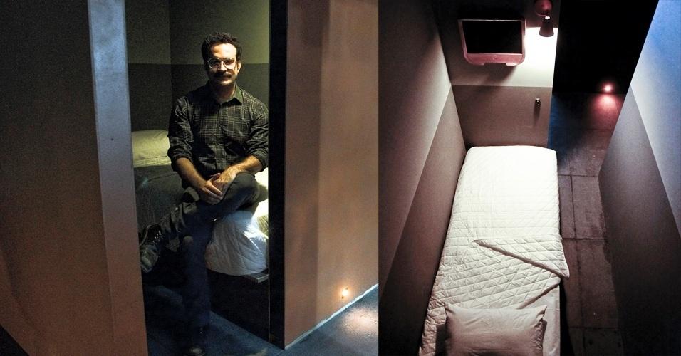Douglas Drumond é o empresário que fez o hotel Chilli Pepper. Os quartos de 1,6 x 2 metros têm televisão e cama. O banheiro será compartilhado numa área a parte, junto com a sauna aberta aos não-hóspedes. São 113 quartos deste tipo e o hotel tem previsão de receber 490 homens por dia