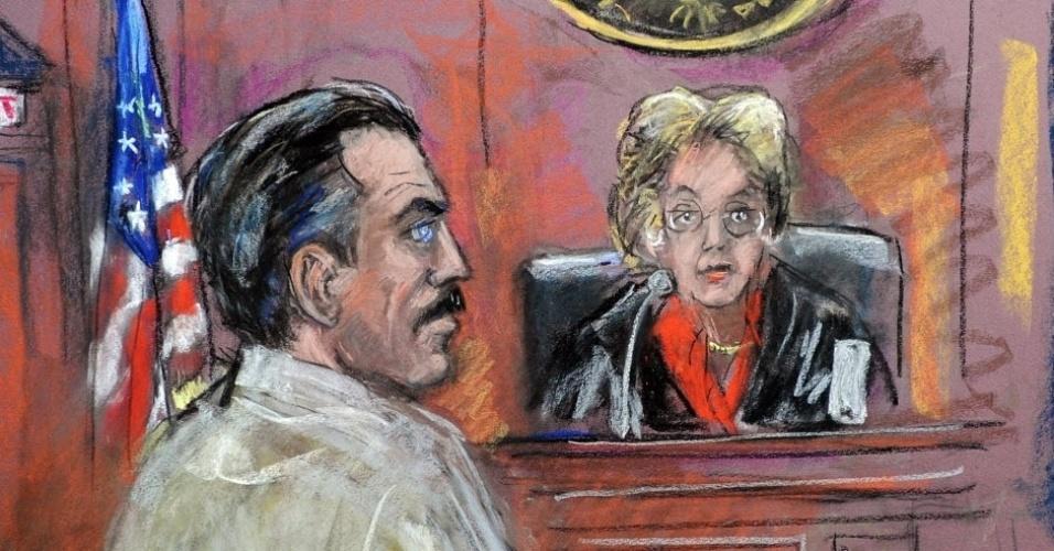 """Imagem de Shirley Shepard reproduz julgamento do traficante de armas russo, Viktor Bout, também conhecido como """"o mercador da morte"""", que foi condenado a 25 anos de prisão. A história de Bout foi retratada no filme """"O senhor das Armas"""" (2008), estrelado por Nicolas Cage"""