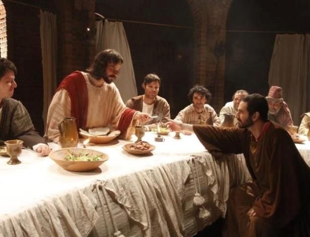 O ator José Barbosa no papel de Jesus em reconstituição da Última Ceia