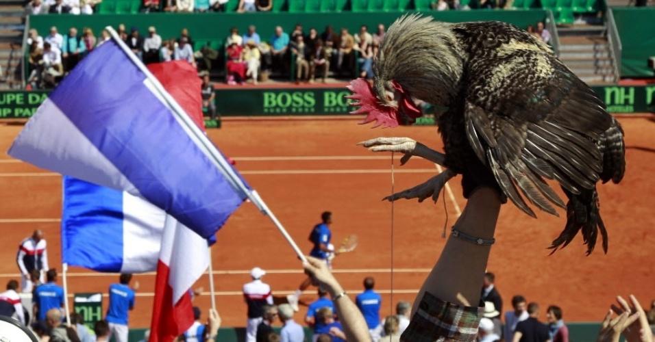 Torcedor francês levou um galo, símbolo do país, para acompanhar o duelo entre Tsonga e Harrison pela Davis