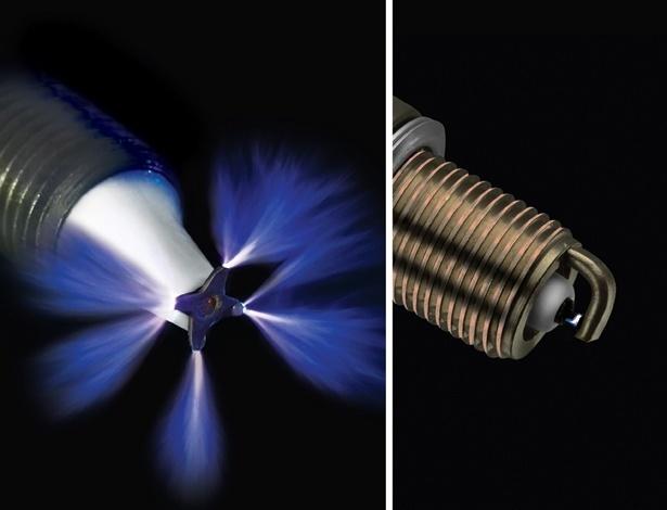 Vela por plasma (à esquerda) aumenta eficiência da queima de ar-combustível, reduzindo consumo. Além disso, pode durar tanto quanto o motor em si. Vantagem sobre vela comum (direita) é enorme, mas ela só deve aparecer no mercado dentro de três anos - Divulgação
