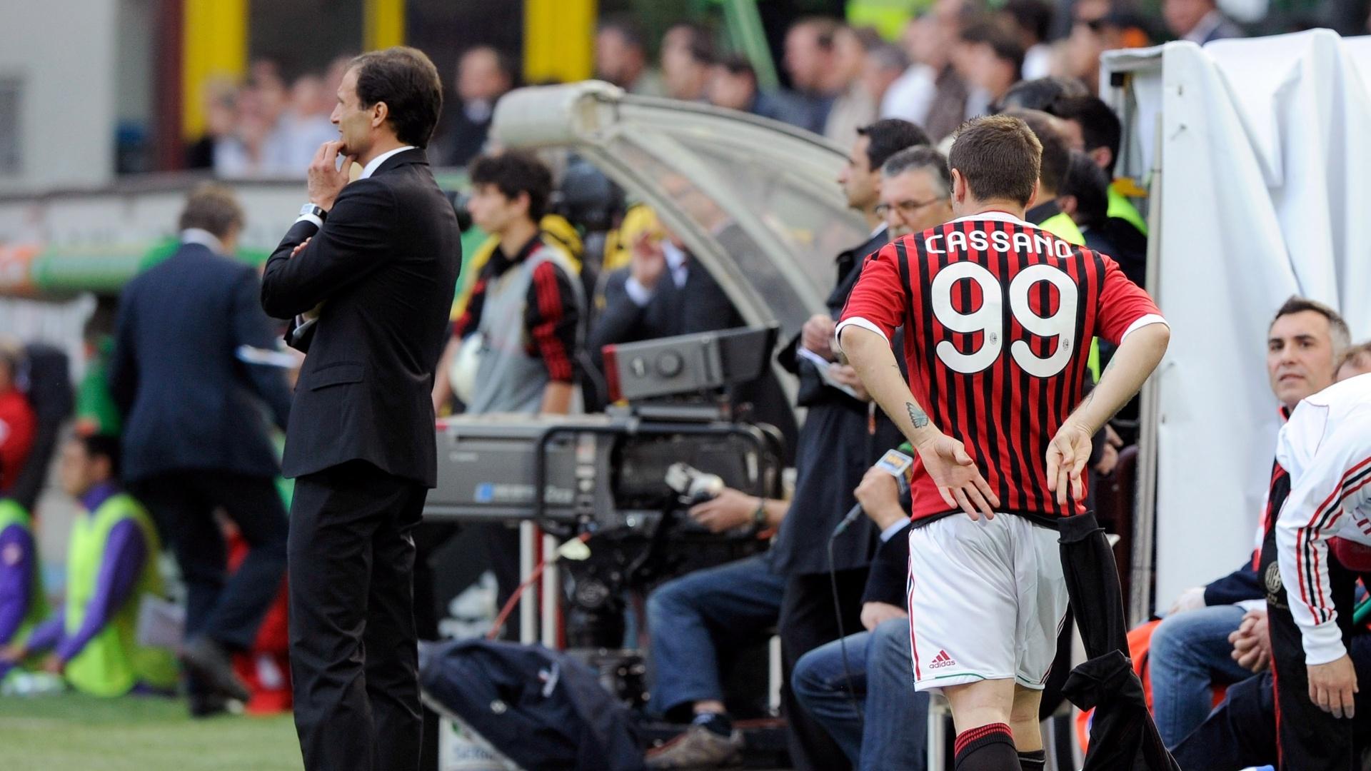Cassano, do Milan, entrou no segundo tempo e disputou sua primeira partida após a cirurgia cardíaca de novembro do ano passado
