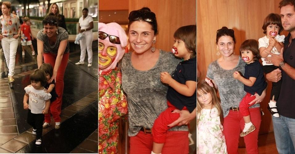 Giovanna Antonelli leva as filhas gêmeas a uma peça infantil de Páscoa em um shopping em São Conrado, no Rio de Janeiro. A atriz e o marido passearam com as crianças e posaram para fotos (8/4/12)