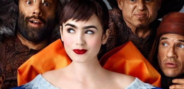 Sobrancelhas marcadas, pele perfeita e batom vermelho são destaque na maquiagem da Branca de Neve interpretada por Lily Collins - Divulgação