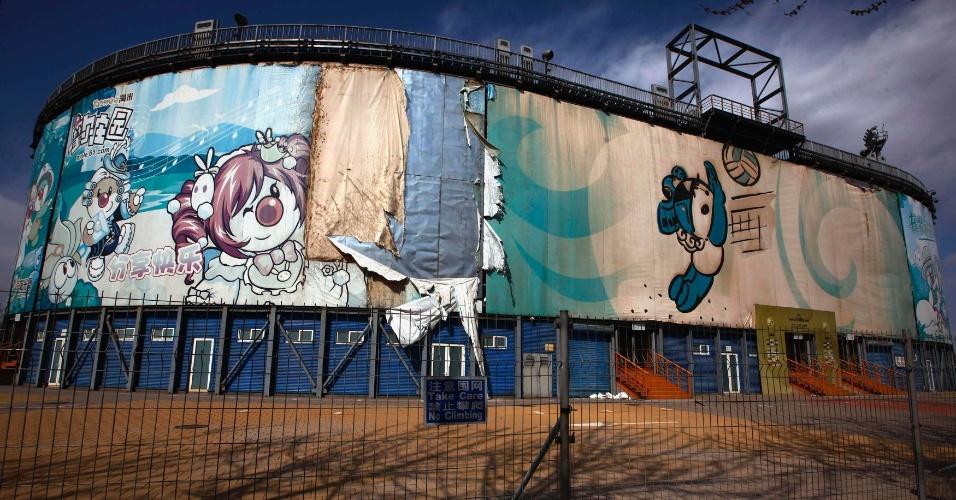 Outra sede abandonada de Pequim-2008 é a arena erguida para as competições de vôlei de praia. O espaço fica fechado e não recebe visitações