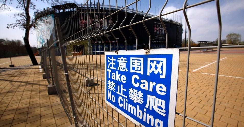 Outra sede abandonada é a arena erguida para as competições de vôlei de praia. O espaço fica fechado e não recebe visitações